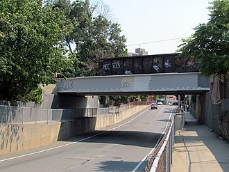 Green Line Extension - The Medford Street bridge in Somerville was rebuilt as part of Phase I construction.