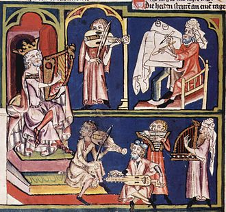 Rudolf von Ems - From the Weltchronik: King David with scribe and musicians (illumination from a manuscript in the Zentralbibliothek Zürich).