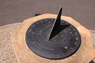 Sundial - In this sundial, in Melbourne, Australia, the gnomon is the triangular blade. The style is its inclined edge.