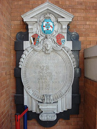 Memorial to East Anglians who died during the First World War in Liverpool Street Station. The memorial, erected by the London Society of East Anglians, displays the flag Memorial to East Anglians who died during The Great War - geograph.org.uk - 628576.jpg