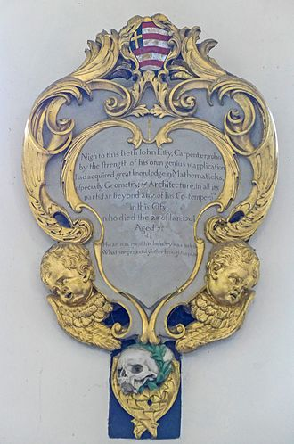Memorial plaque to John Etty in All Saints' Church, North Street, York, recording his date of death as 28 January 170+8/9 Memorial to John Etty (18373251064).jpg