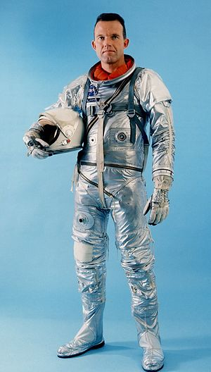 Gordon Cooper - Cooper in his Mercury spacesuit, the Navy Mark IV