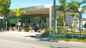 Upper Eastside - A MiMo restaurant on Biscayne Boulevard in the Upper Eastside. The Upper Eastside is famous for its post war MiMo architecture, and is home to the MiMo Biscayne Boulevard Historic District.