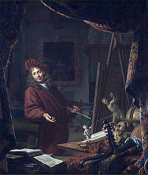 Michiel van Musscher - Self portrait dated 1679.