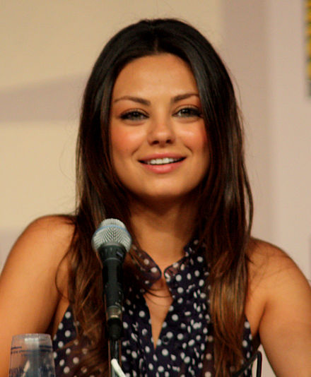 Kunis on a Family Guy panel at the San Diego Comic-Con in 2009 Mila Kunis by Gage Skidmore.jpg