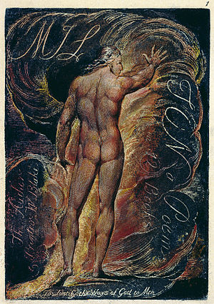 "Milton: A Poem in Two Books - Frontispiece to Milton. Milton's intention to ""justify the ways of God to men"" (from Paradise Lost) appears beneath his depiction by Blake."