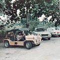 Mini Moke and Peugeot 304 at Olympia House, Dar es Salaam (3084871256).jpg