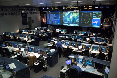 NASA's Mission Control Center seen in 2005. This is currently the lead image in the article en:Christopher C. Kraft Jr. Mission Control Center.