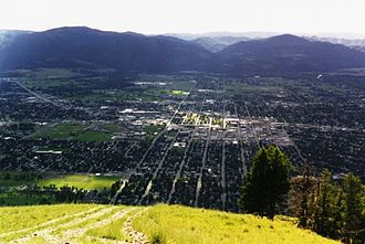 History of Missoula, Montana - Looking west toward the Bitterroot Mountains over Missoula from Mount Sentinel