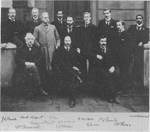 History of catecholamine research - Members of University College London around 1895. Schäfer in middle of forefront, Oliver to his left in light coat.
