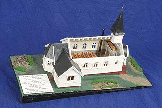 Norwegian Lutheran Church (Grytviken) - Model of church on display at Sandefjord Museum in Norway.