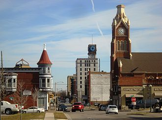 Moline Downtown Commercial Historic District - Downtown Moline from the west with First Lutheran Church on the right.
