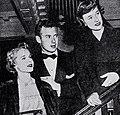 Mona Freeman, husband Pat Nerney, and Phyllis Thaxter, 1949.jpg