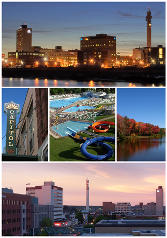 Moncton - From top left: Moncton skyline at night, the Capitol Theatre, Magic Mountain, Centennial Park, and Downtown Moncton at dusk