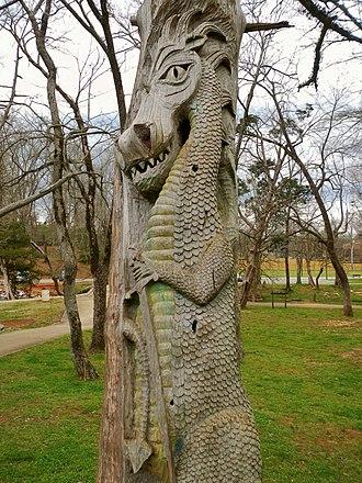 Montevallo, Alabama - Tim Tingle Tree Carvings in Orr Park