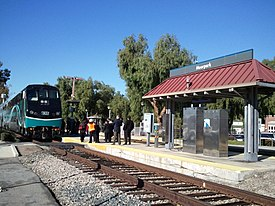 The Moorpark station for the Metrolink Ventura County Line and Amtrak Pacific Surfliner