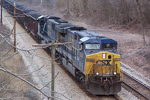 GE AC6000CW - A CSX Transportation AC6000CW passing through the New River Gorge, West Virginia in February 2008