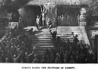 "Captain Moroni - Captain Moroni raises the ""Title of Liberty"", as found in the 1910 book Cities in the Sun"