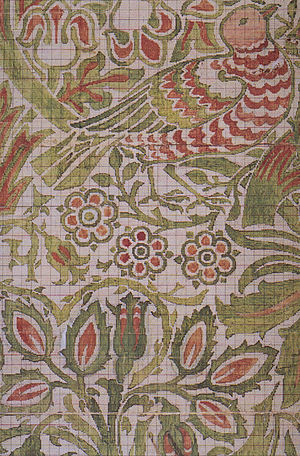 Textile design - Point paper for Dove and Rose woven double cloth by William Morris, 1879.