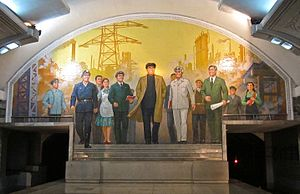 Puhung Station - Mural The Great Leader Kim Il-Sung Among Workers
