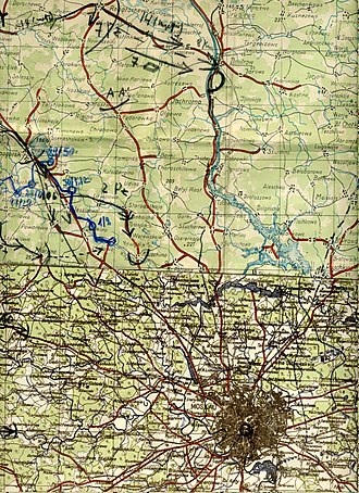 7th Panzer Division (Wehrmacht) - Campaign map used by the reconnaissance battalion of the division during approach north of Moscow