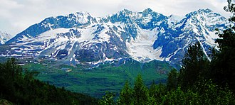 Mount Billy Mitchell (Chugach Mountains) - View of the north (leeward) face of Mount Billy Mitchell from mile marker 48 along the Richardson Highway. An unnamed glacier is visible in the cirque.