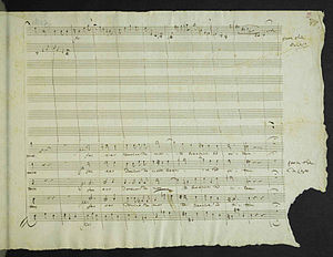 Expo 58 - Mozart's manuscript, with missing corner