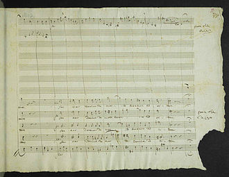 Requiem (Mozart) - Mozart's manuscript with missing corner