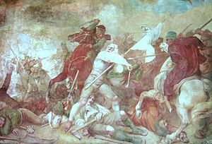 Bavarian uprising of 1705–06 - The 1705 Slaughter of the Sendling Farmers, detail from the fresco by William Lindenschmit the Elder on the Old Parish Church of St. Margaret.