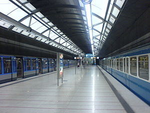 Munich subway station Messestadt-Ost, platform.JPG