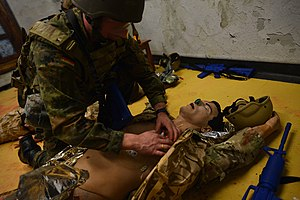 Army Medical Service (Germany) - A German Army medic trains to save lives at the NATO Allied Centre for Medical Education at SHAPE, Belgium 2014