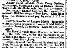 Clipping from a newspaper small-ads column containing ads for a bazaar, football matches, a concert and a sale of fur accessories