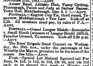 1893–94 Small Heath F.C. season - Image: NE Gazette Small Ads 24Nov 1893