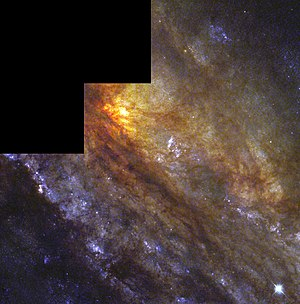 Sculptor Galaxy - Detail of NGC 253 by Hubble Space Telescope. (Credit: HST/NASA/ESA).