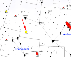 NGC 752 - Map showing the location of NGC 752