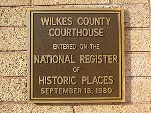 Wilkes County Courthouse (Washington, Georgia) - NRHP plaque