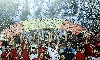 Naft Tehran F.C. - Naft players celebrating winning 2016–17 Hazfi Cup title