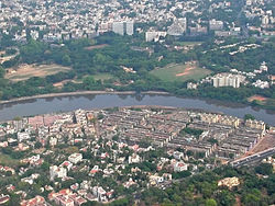 Aerial view Nandanam, north bank of the Adyar River and Kotturpuram on the south. type=neighbourhood