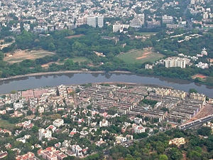 Nandanam - Aerial view Nandanam, north bank of the Adyar River and Kotturpuram on the south.