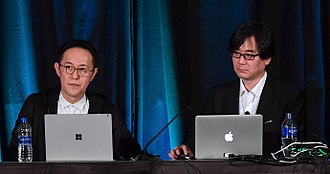 Sonic the Hedgehog (character) - Sonic's character designer Naoto Ohshima (left) with level designer Hirokazu Yasuhara at the 2018 Game Developers Conference.