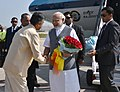 Narendra Modi being welcomed by the Governor of Andhra Pradesh and Telangana, Shri E.S.L. Narasimhan and the Chief Minister of Andhra Pradesh, Shri N. Chandrababu Naidu on his arrival, at Tirupati airport, Andhra Pradesh (1).jpg