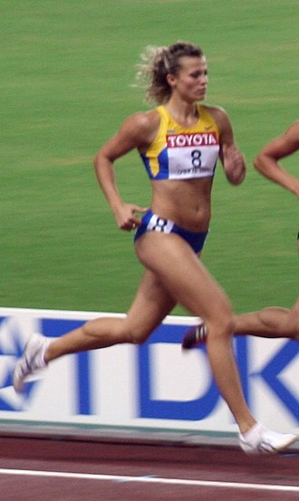 Heptathlon - Nataliya Dobrynska in the Osaka World Athletics Championships 2007 women's heptathlon