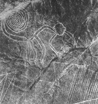 "Aerial archaeology - Aerial archeological photograph of the ""Nazca monkey"" in Peru"
