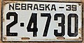 Nebraska license plate 1939 from the private collection of Jim Smith.jpg