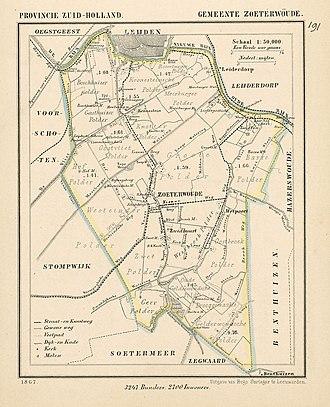 Zoeterwoude - Image: Netherlands, Zoeterwoude, map of 1867