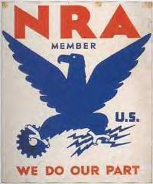National Industrial Recovery Act of 1933 - NRA Blue Eagle poster, the image most commonly associated with the NIRA.