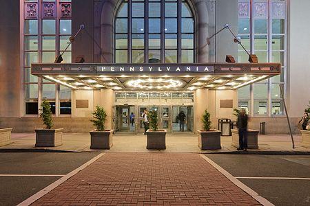Newark Penn Station at night