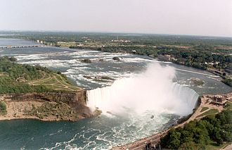 Knickpoint - The Horseshoe Falls, one of the three Niagara Falls. The falls are a knickpoint, formed by slower erosion above the falls than below.