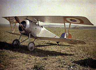 Autochrome Lumière - An Autochrome of a World War I Nieuport 23 biplane fighter, circa 1917.