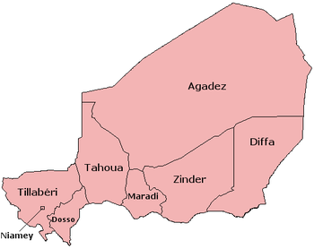 A clickable map of Niger exhibiting its seven regions.